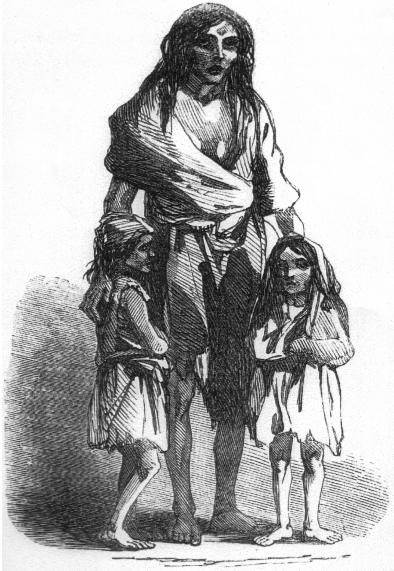 Bridget O'Donnell and her two children during the Great Hunger.