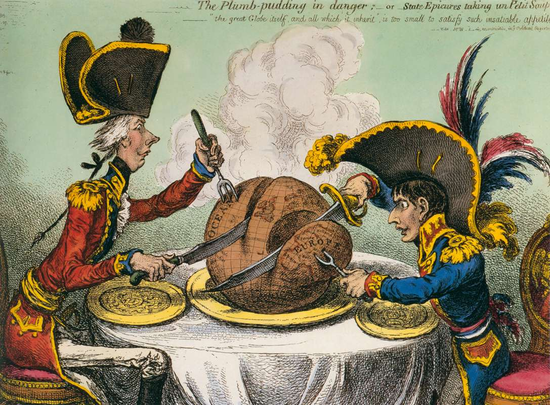 "An 1805 cartoon, ""The Plum Pudding in Danger."""