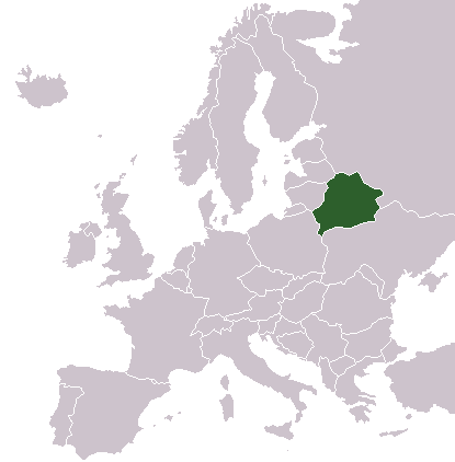 Map showing Belarus in Europe