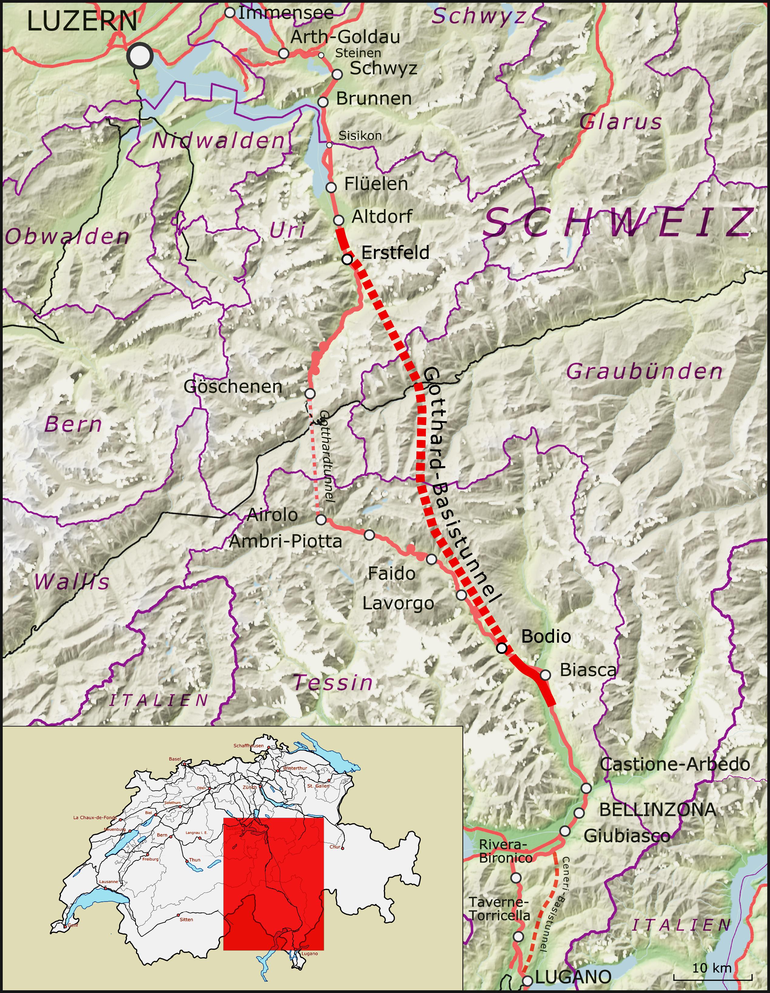 Strecke der Gotthard Basistunnel