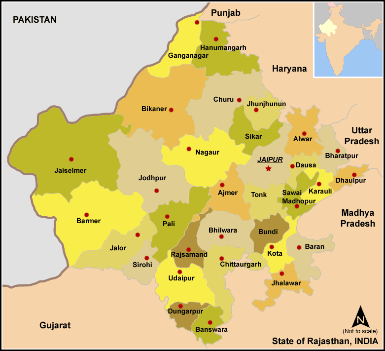 District Map of Rajasthan - Source: Wikimedia. Districts in Rajasthan
