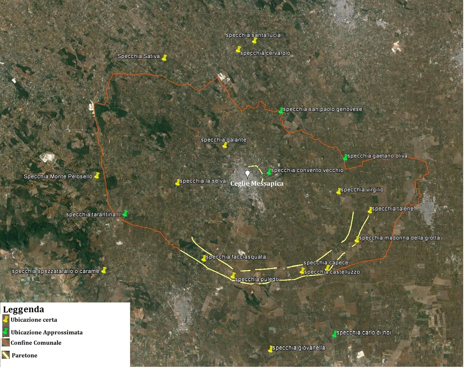 Nella mappa l ubicazione delle specchie e delle cinte murarie note e paretoni di epoca messapica facenti parte del sistema difensivo di Kalia ΚαιΠια