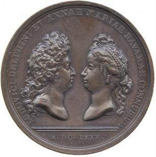 File:Medal of Louis, Dauphin of France and Marie Anne Victoire in 1680 from the series Médailles de Louis le Grand.jpg