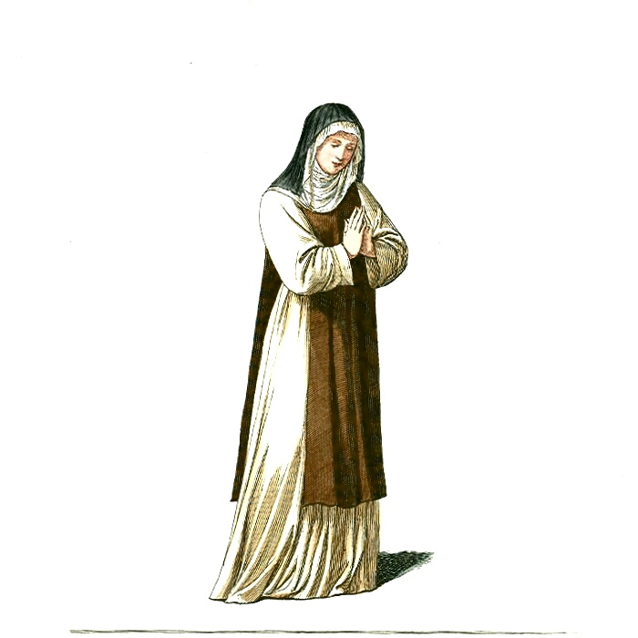Medieval Nuns Clothing http://commons.wikimedia.org/wiki/File:Medieval_Nun_or_Woman_in_Religious_Clothing_(1).JPG