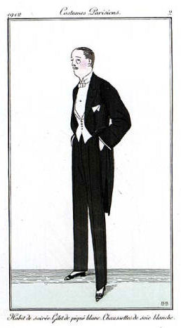 Fashion plate of men's evening wear. Caption o...