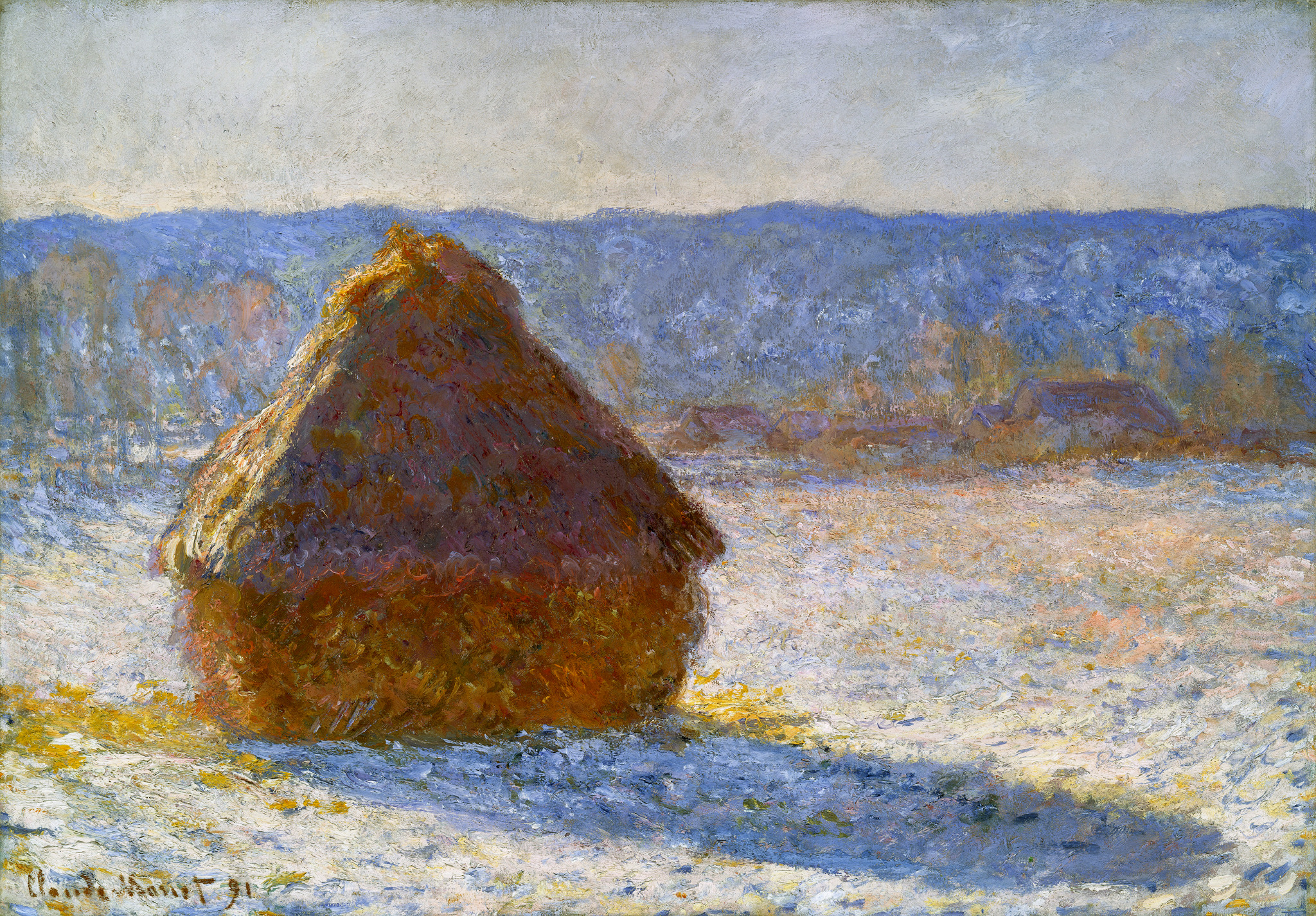 claude monet haystacks effect of snow Stacks of wheat (sunset, snow effect), 1890/91 oil on canvas 653 x 1004 cm ( 25 11/16 x 39 1/2 in) inscribed at lower right: claude monet 91 potter palmer.