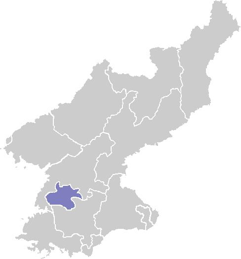 แผนที่แสดงที่ตั้งของประเทศเกาหลีเหนือและที่ตั้งของเมืองเปียงยาง