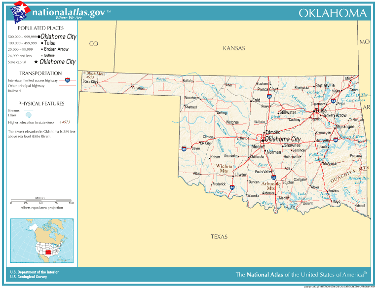 Map of Oklahoma showing major roads and thoroughfares
