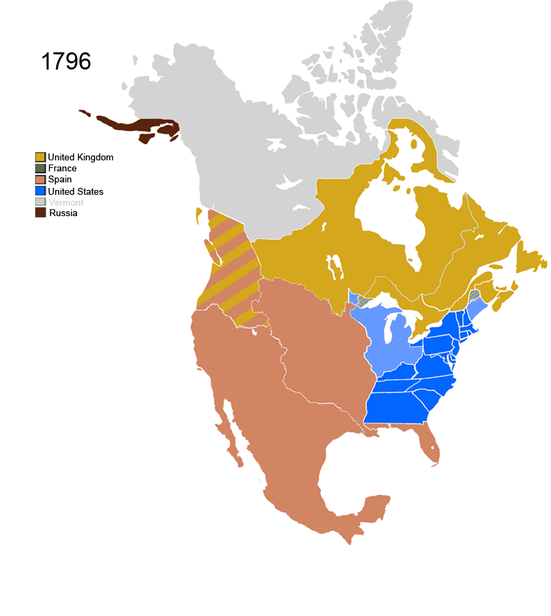 FileNonNative American Nations Control Over N America Png - Us map 1796