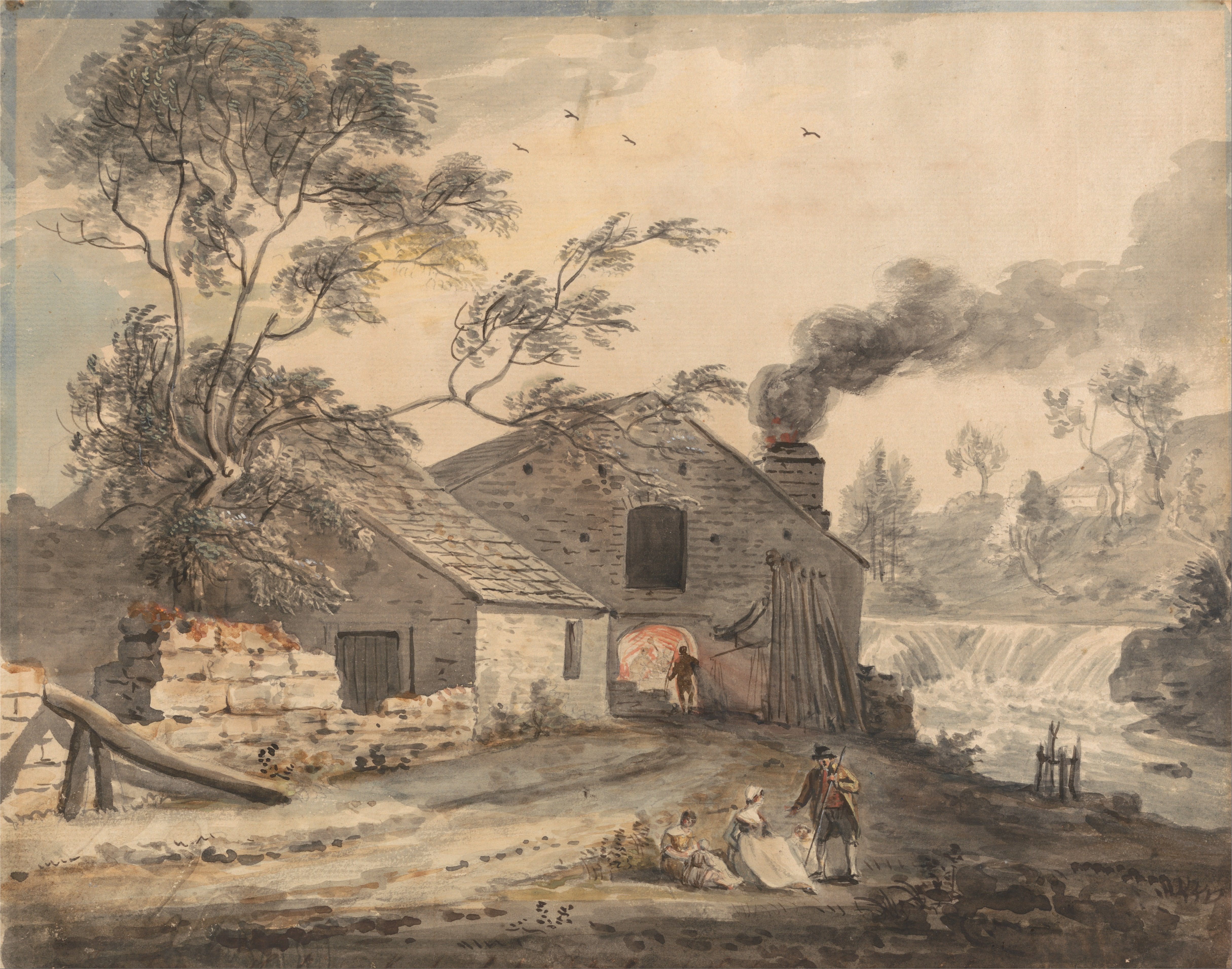 File:Paul Sandby   Iron Forge On The River Kent, Westmorland   Google Art