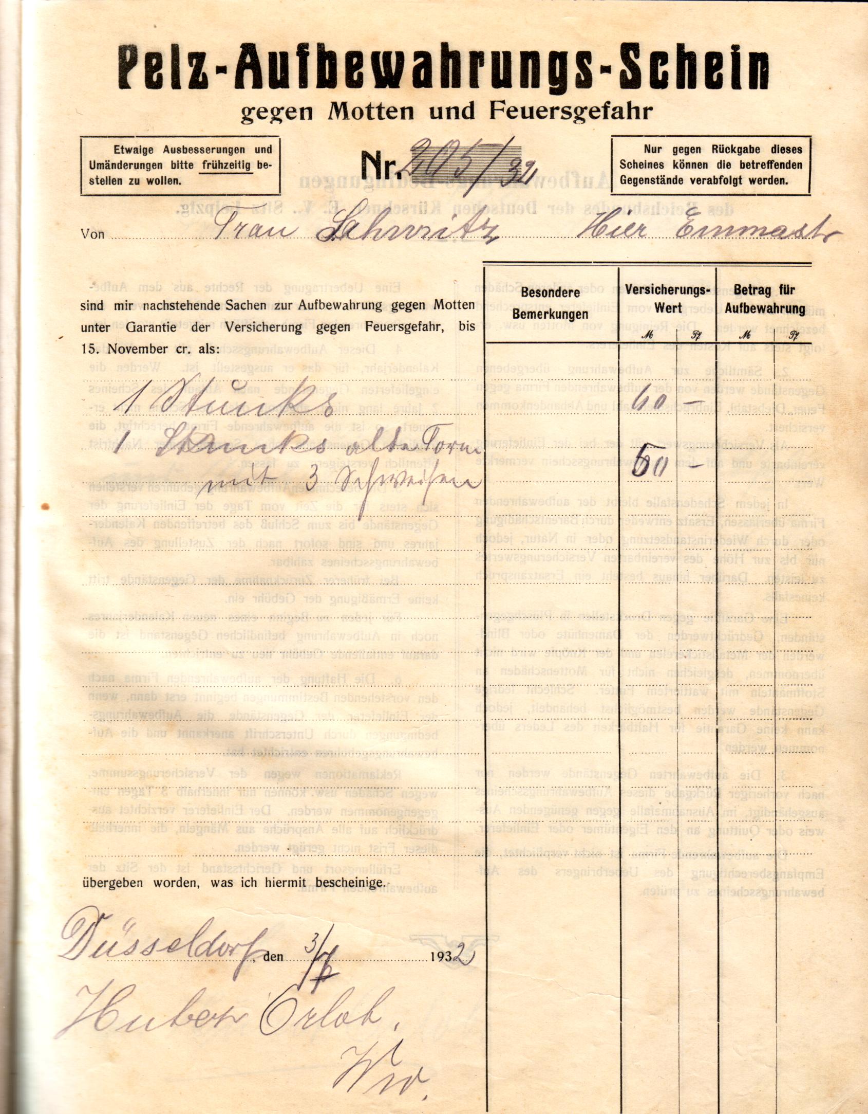 Besondere Len file pelz konservierungs buch der firma orlob düsseldorf 1932 1939