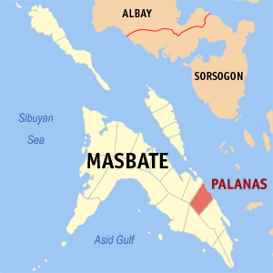 Map of Masbate showing the location of Palanas