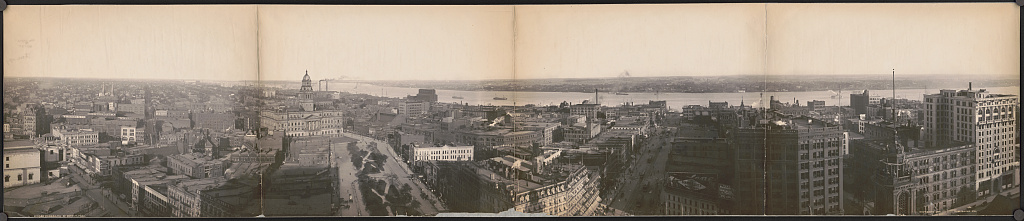 Downtown Panorama (1905) looking toward the Detroit River and Windsor, Ontario