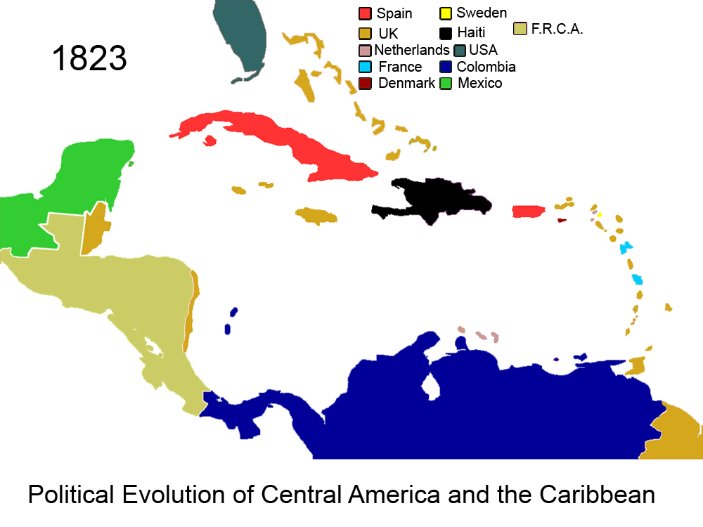 FilePolitical Evolution Of Central America And The Caribbean - Map of us in 1823