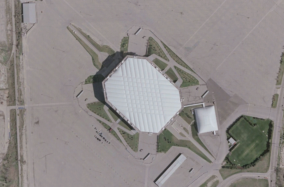 An Aerial view of the Silverdome.  From Wikimedia Commons.