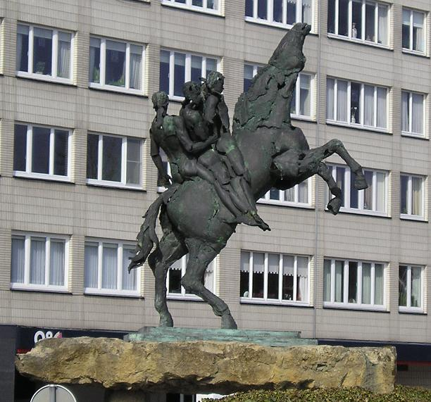 The statue of Ros Beiaard (mythological horse, according to the legend, it could carry four knights) in Dendermonde (Belgium). The statue stands in the middle of roundabout near Brusselsepoort gate.