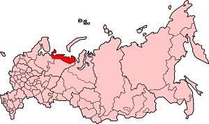 Ненецкий автономный округ на карте России