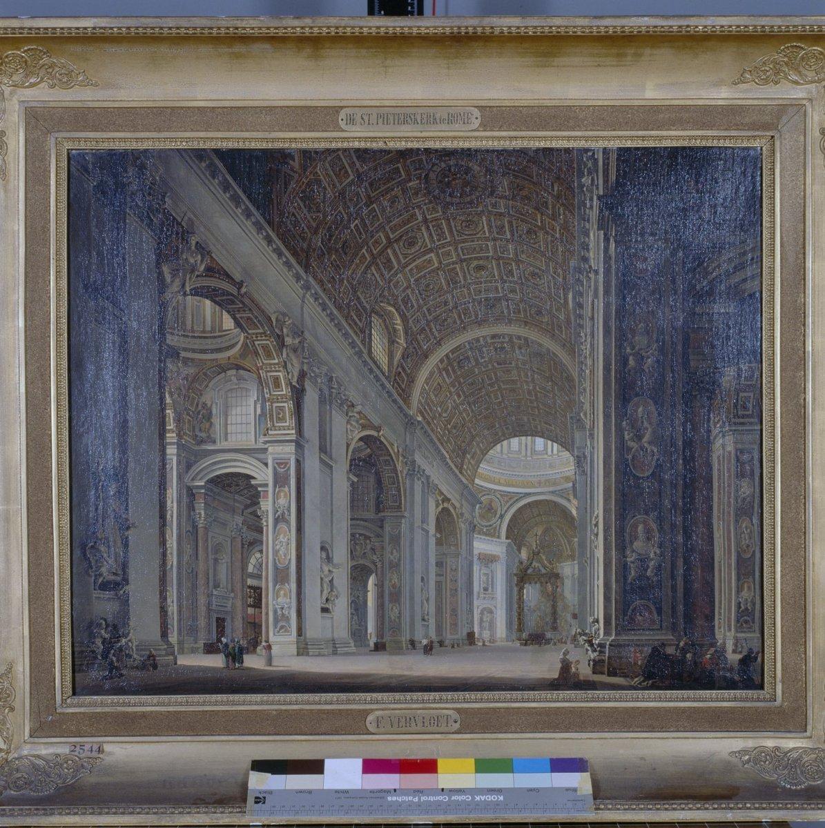 File:Schilderij- Interieur van de Sint-Pieterskerk in Rome, olieverf ...