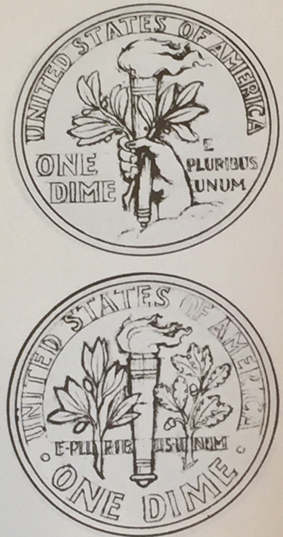 Two of Sinnocku0027s sketches for the reverse of the dime