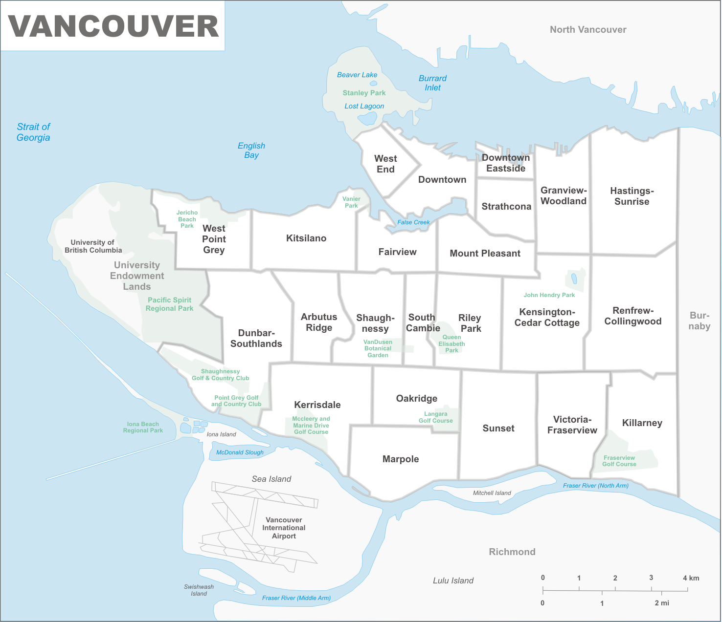 Vancouver Neighbourhoods Map List of neighbourhoods in Vancouver   Wikipedia