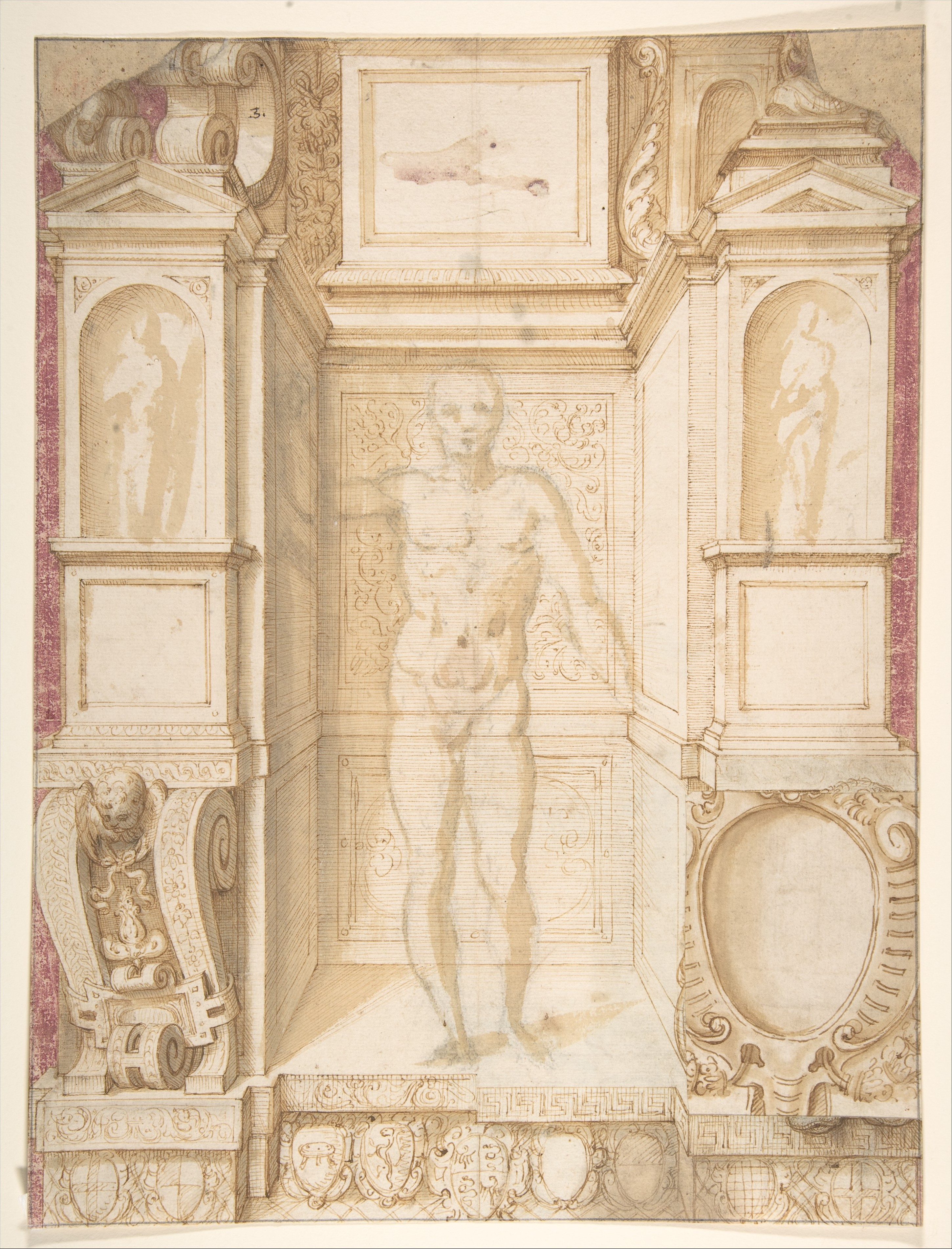 file study of a figure in a niche  saint ambrose  recto