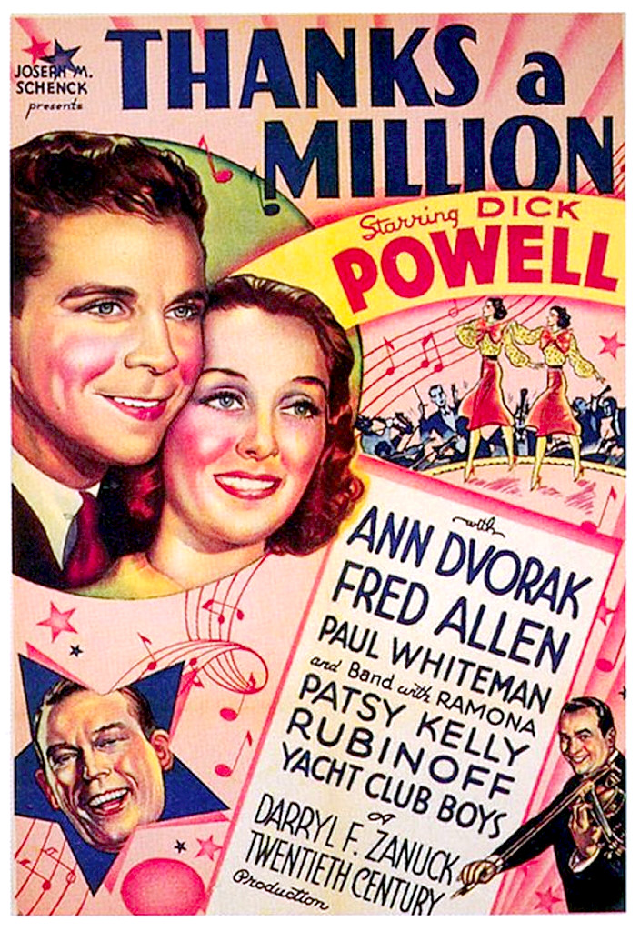 Thanks a million Dick Powell vintage movie poster print