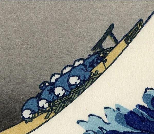 Сколько человек тонет в «Большой волне в Канагаве»?