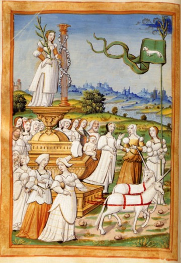 Triumph of Chastity: an allegory of the virtue of Chastity is standing on a wagon drawn by two unicorns; her train of virgin is led by one holding a banner bearing the emblem of the white weasel or ermine, symbol of chastity in medieval tradition (Master of the Paris Entries, c. 1500-1520). Trionfo della Pudicizia W.jpg