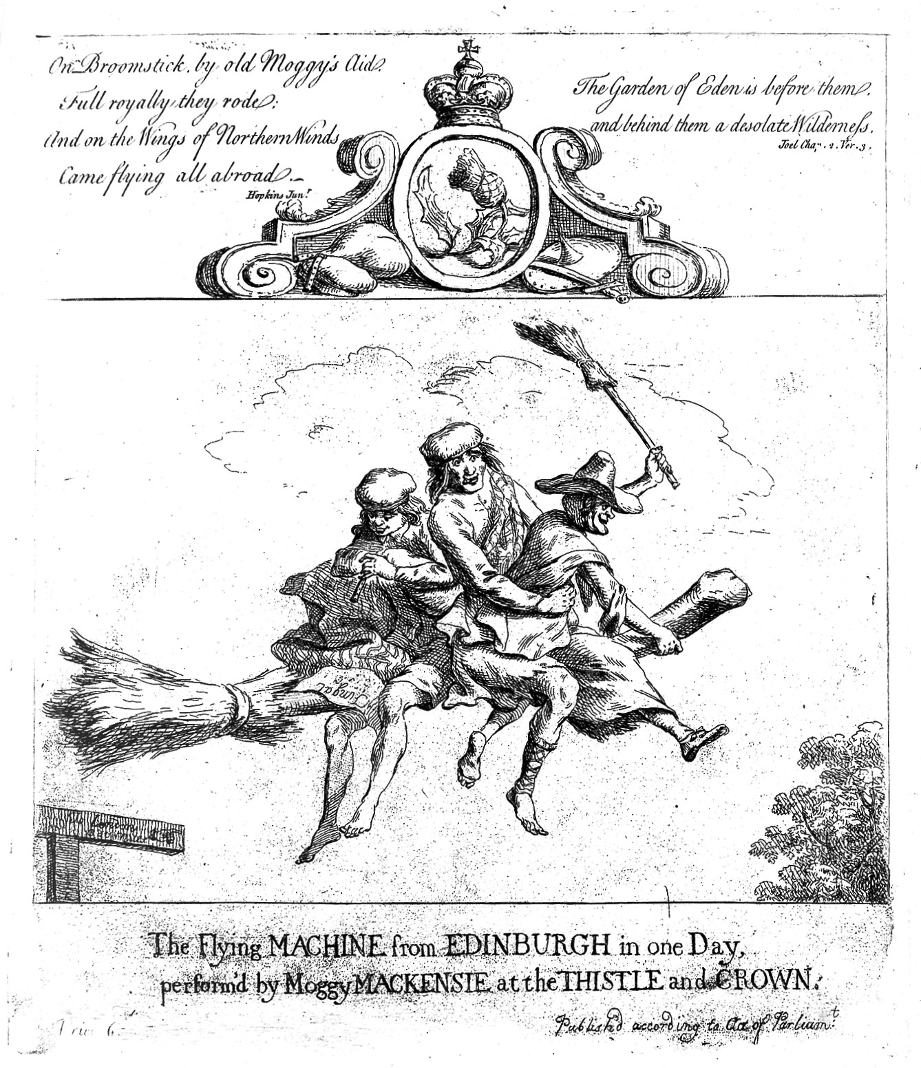 Two scotsmen and a witch flying on a broomstick. Etching by P. Sandby with text by Hopkins. Image courtesy of Wellcome Images.