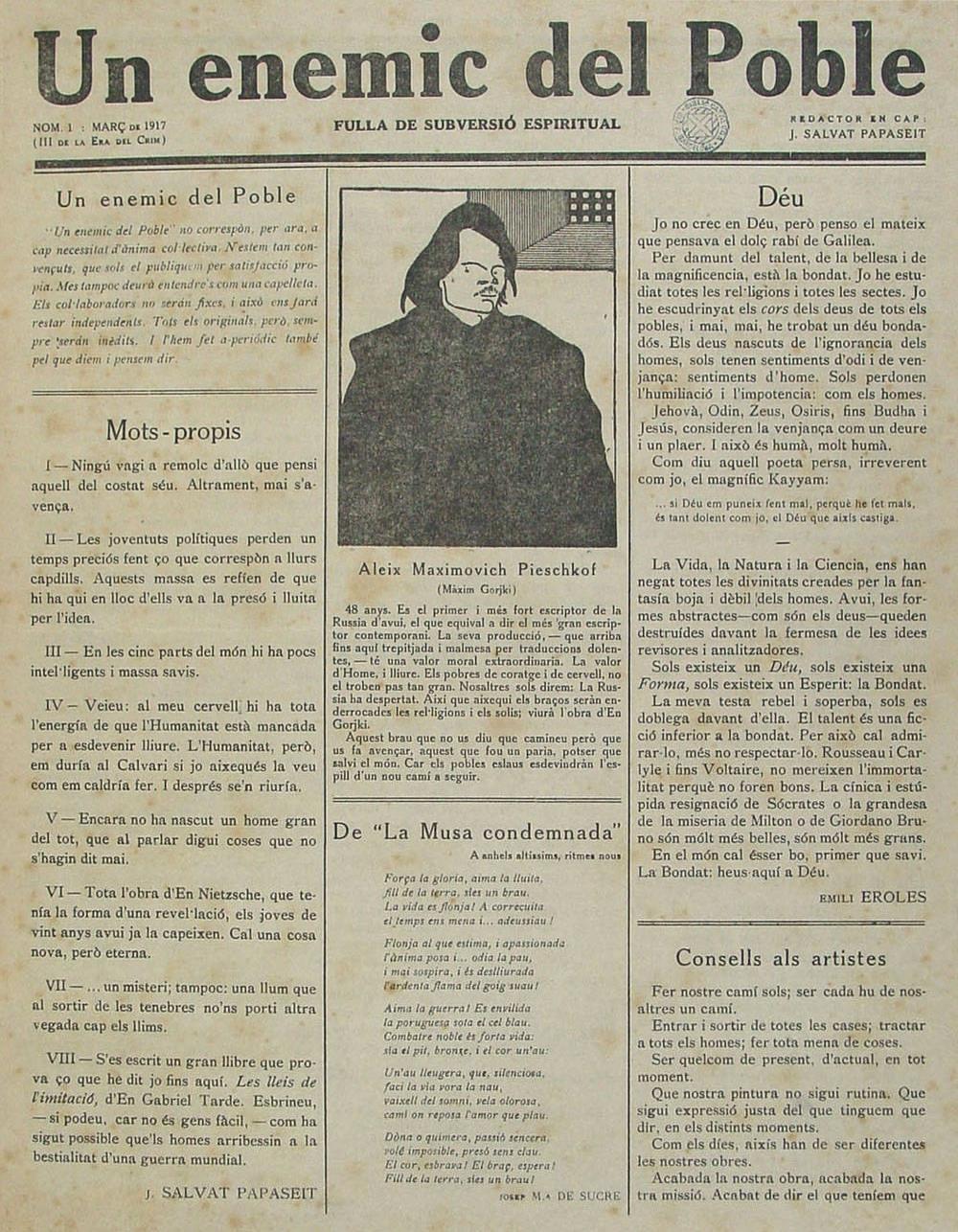 Portada del primer número de la publicación Un enemic del poble (marzo de 1917).