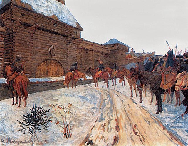 Los mongoles bajo los muros de Vladímir.