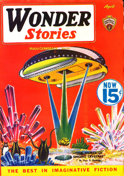 Gernsback's decade of publishing SF magazines came to a close with the final issue of Wonder Stories in 1936. Aside from the short-lived Science-Fiction Plus in the 1950s, he never returned to that business Wonder stories 193604.jpg