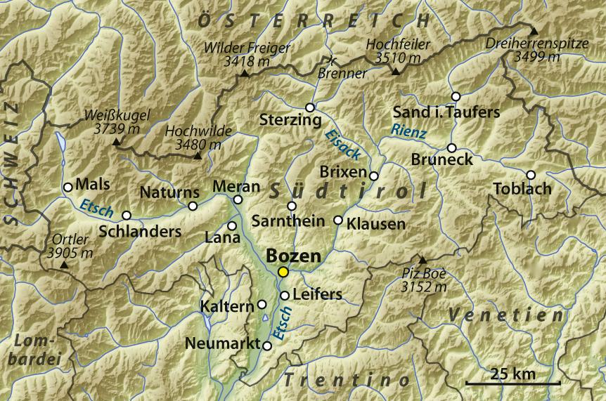 Übersichtskarte von Südtirol