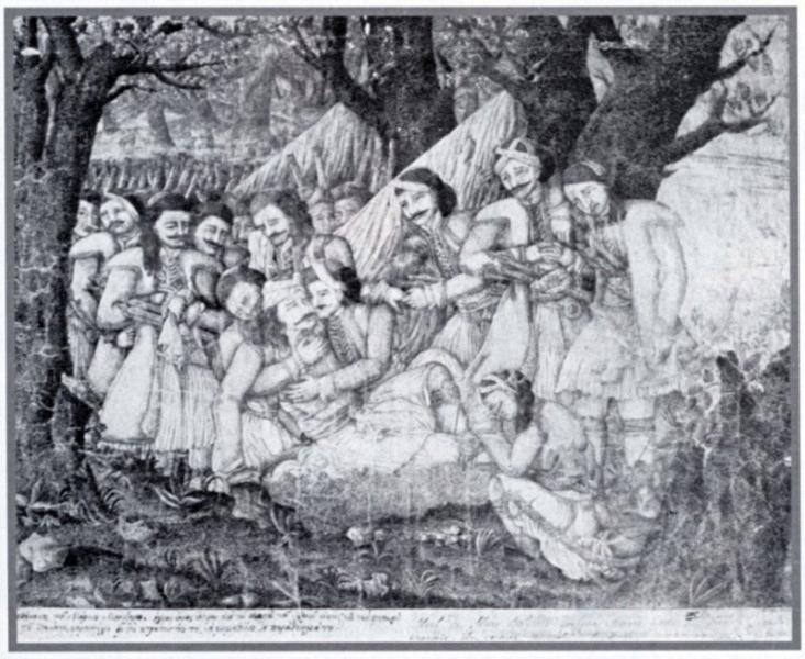 File:Ο θάνατος του Μάρκου Μπότσαρη. Πένα,σέπια και μελάνη. Αθαν. Ιατρίδη..jpg