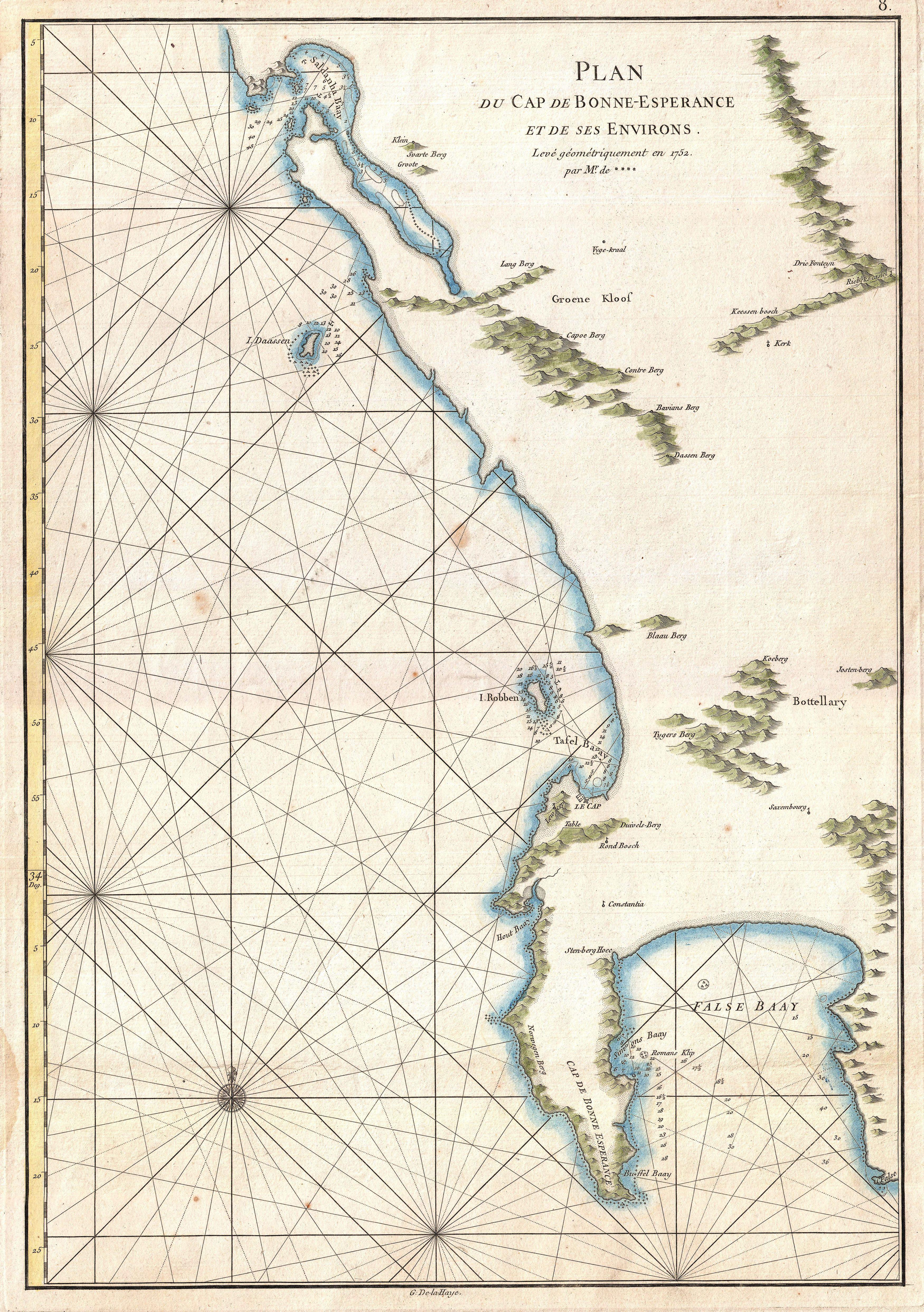 File:1775 Mannevillette Map of the Cape of Good Hope, South ...
