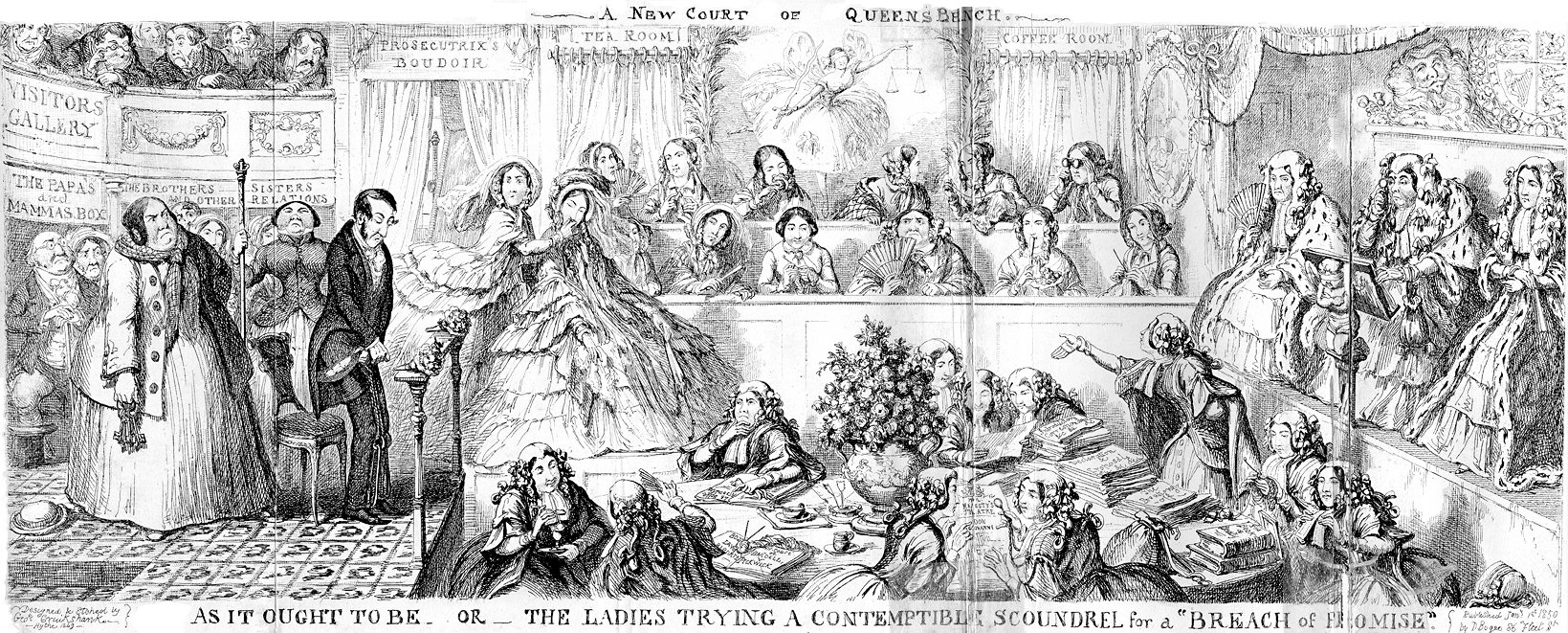 Political Cartoon Opposing Women's Rights, 1849, George Cruikshank, Comic Alamanck