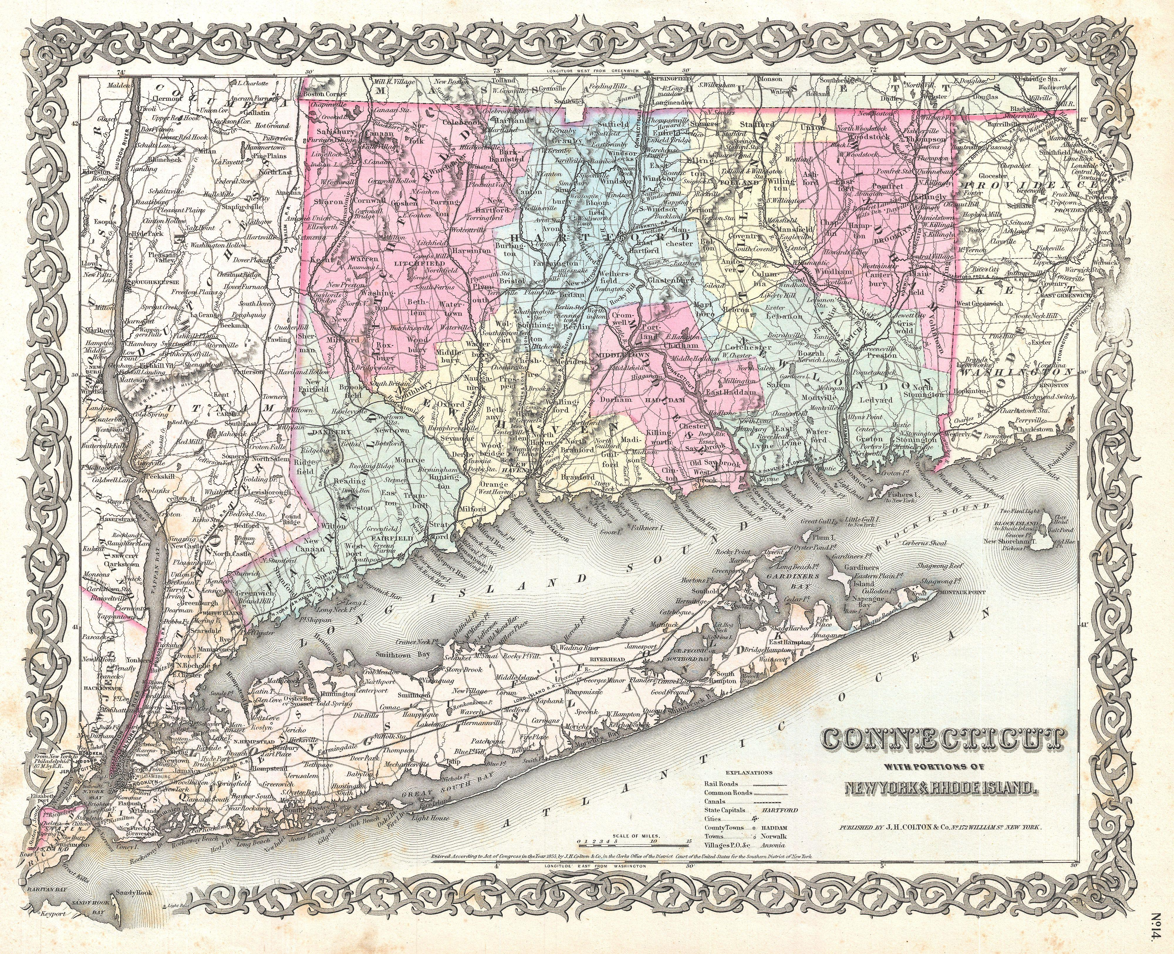 File1855 Colton Map Of Connecticut And Long Island Geographicus