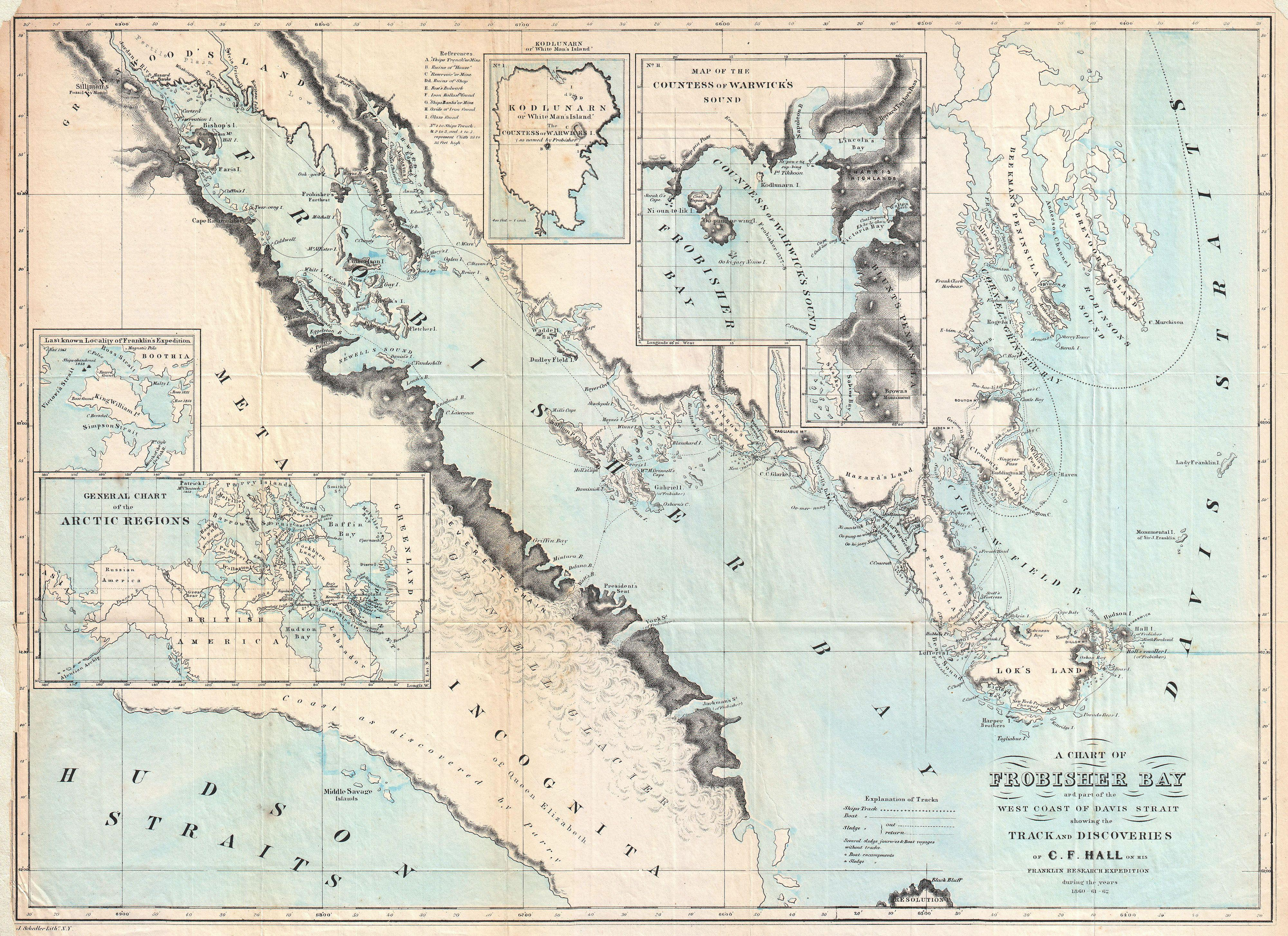 File1865 Hall Map of Frobisher Bay Baffin Island Canada