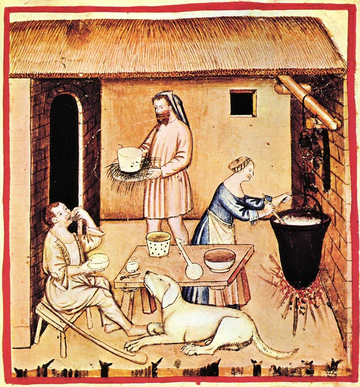 Výroba sýra ve 14. století