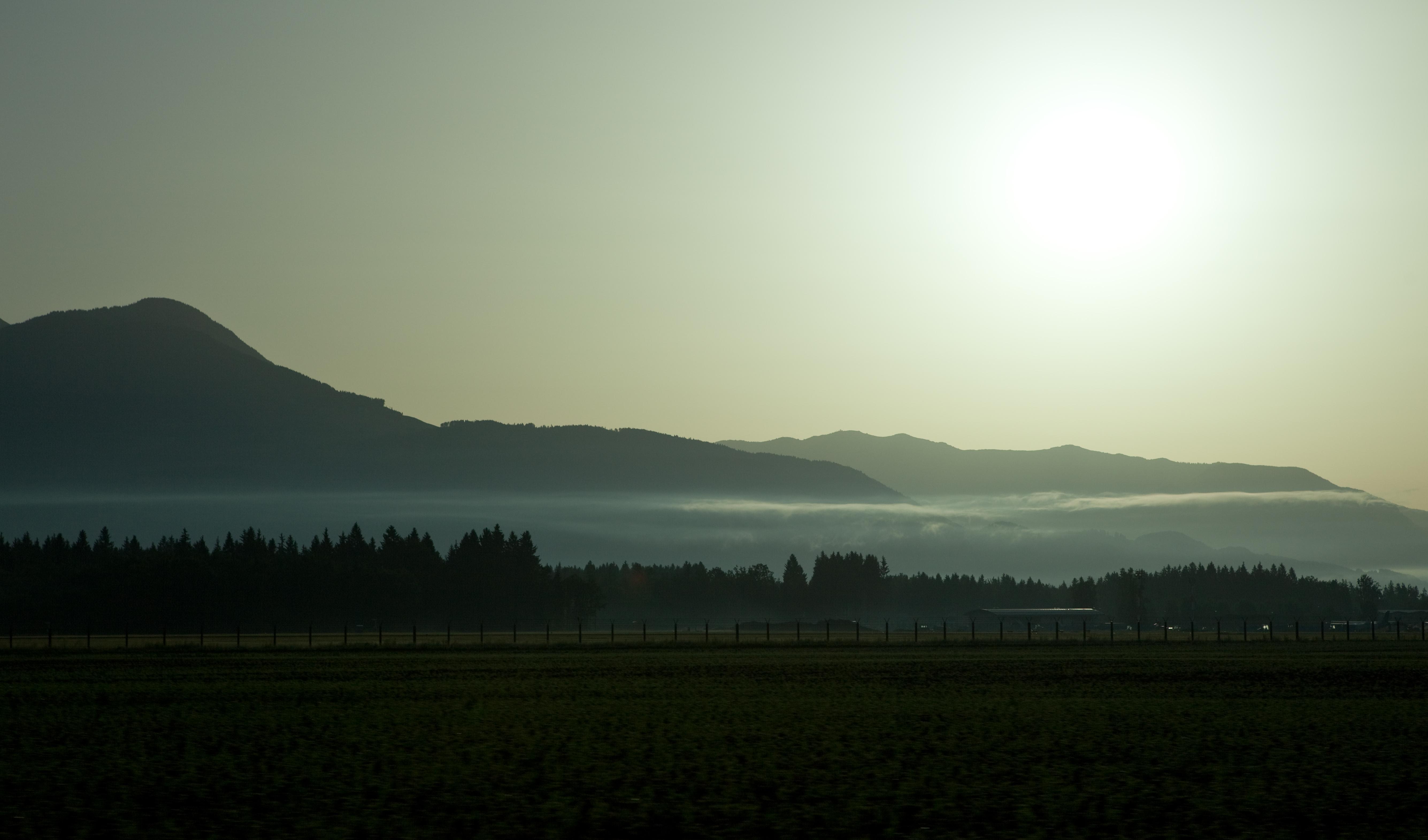 file a field outside of ljubljana early in the morning