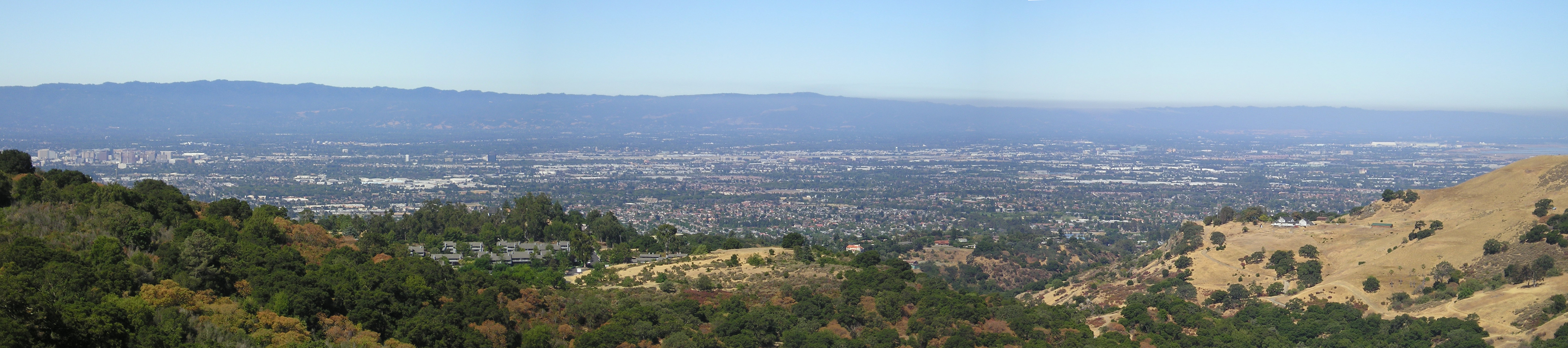 Looking west over northern San Jose (downtown is at far left) and other parts of Silicon Valley