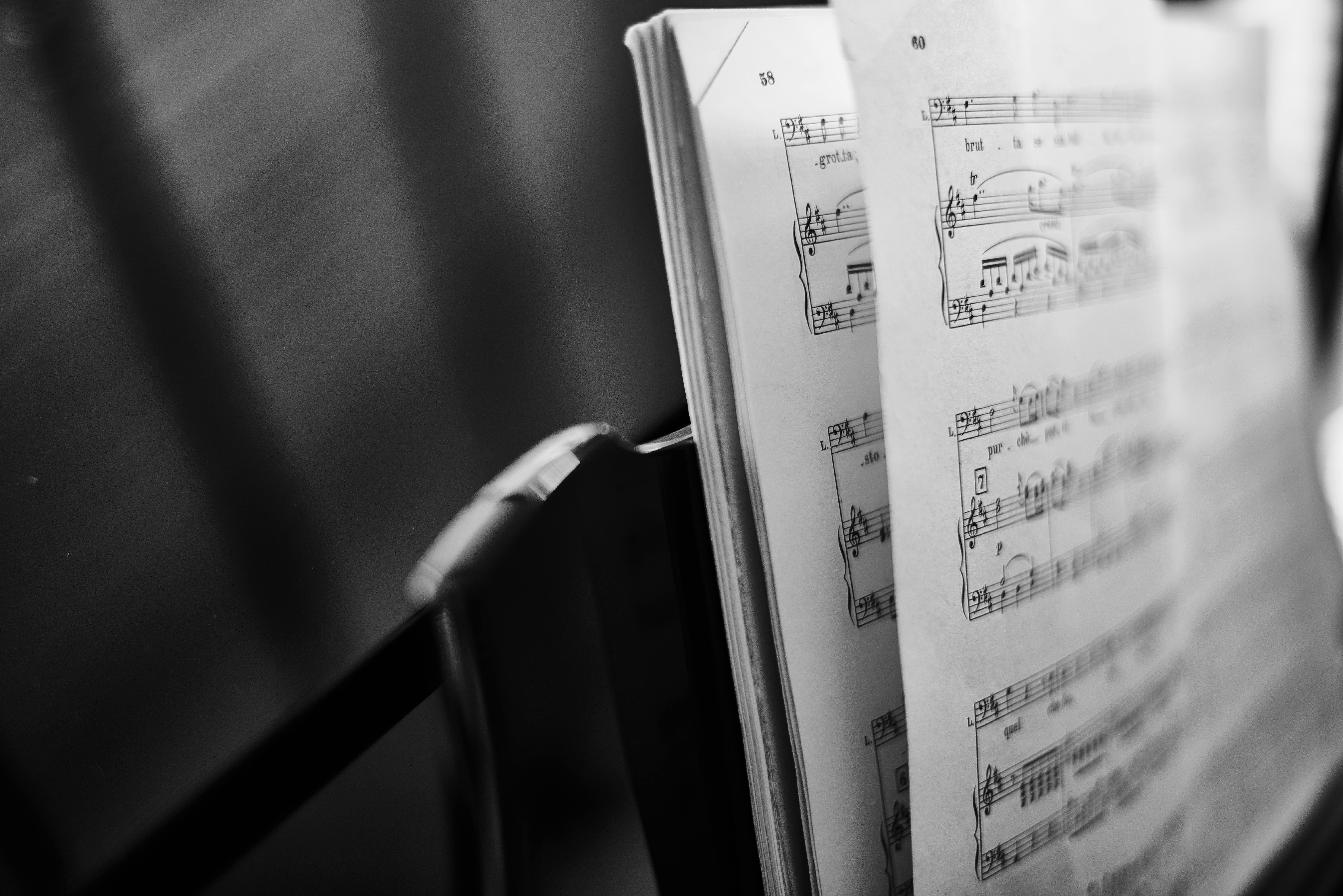 Black and white music score