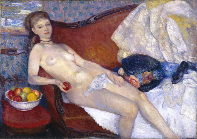 File:Brooklyn Museum - Nude with Apple - William Glackens - overall.jpg