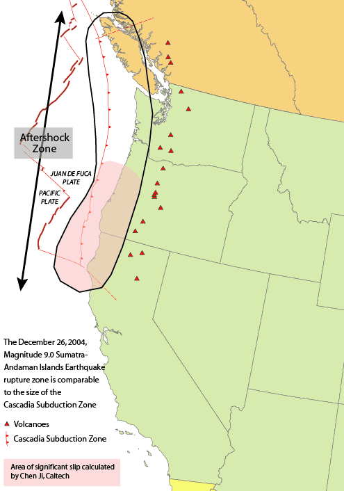 Cascadia Subduction Zone and the associated Spreading Zone