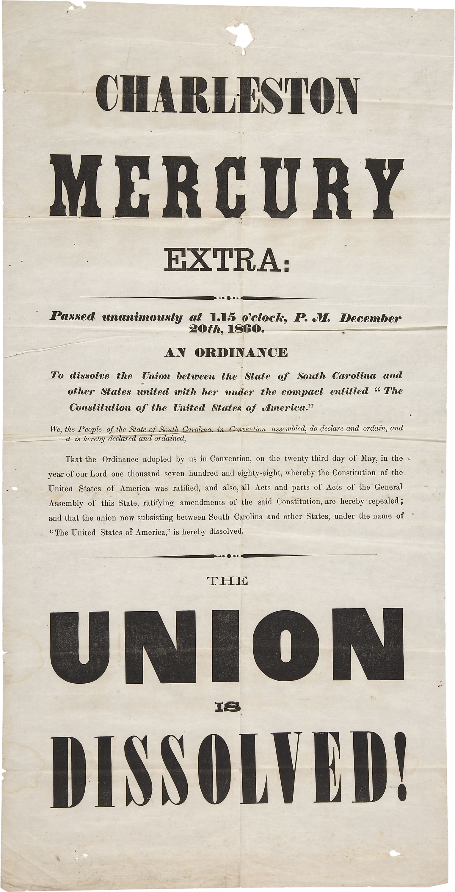 a history of the ordinance to dissolve the union in the united states