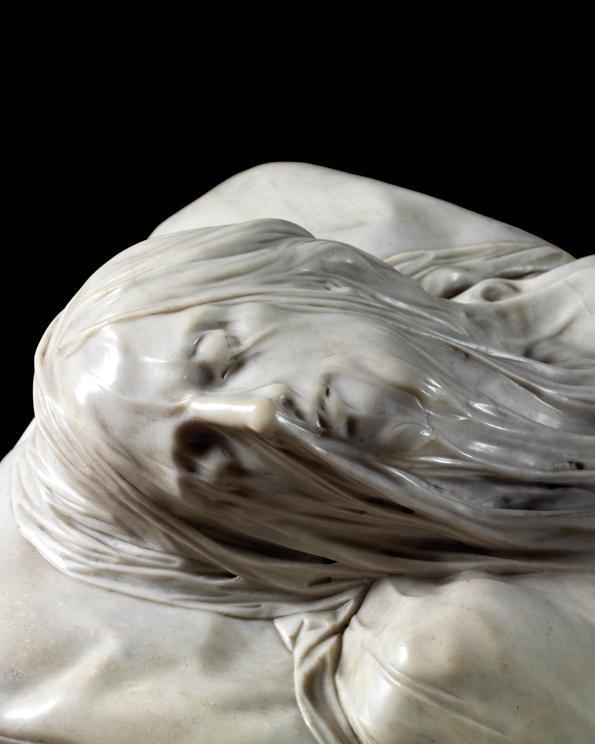 Détails du visage de Jésus voilé dans la chapelle Sansevero à Naples - Photo de David Sivyer
