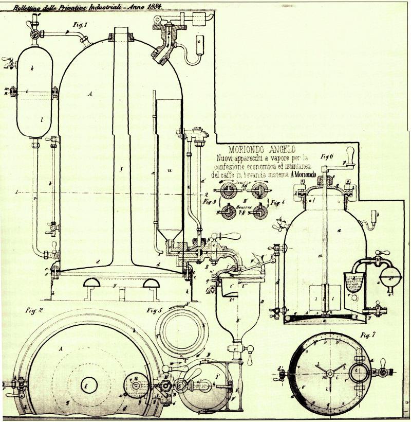 Erste patentierte Espressomaschine