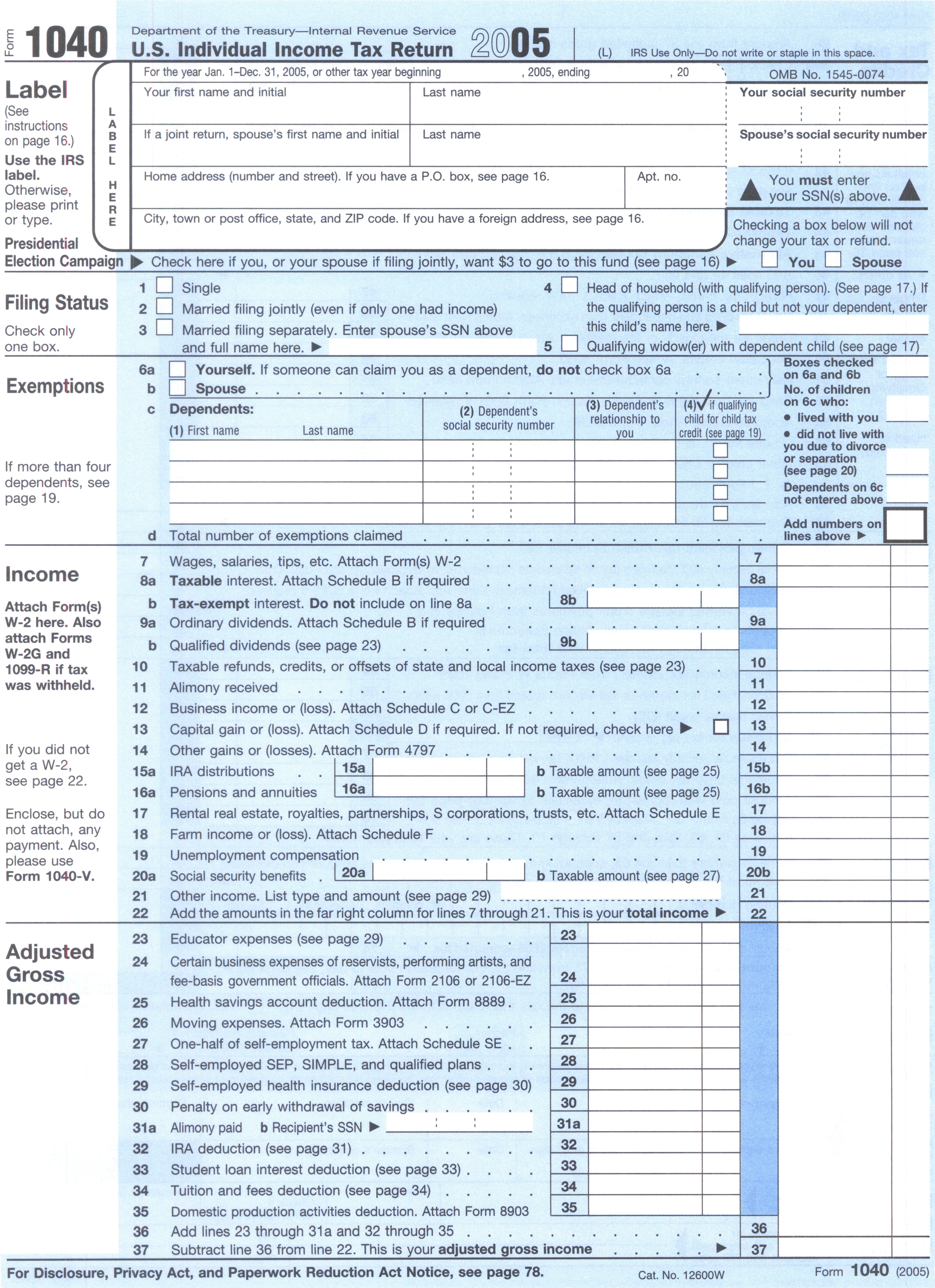 File:Form 1040, 2005.jpg - Wikimedia Commons