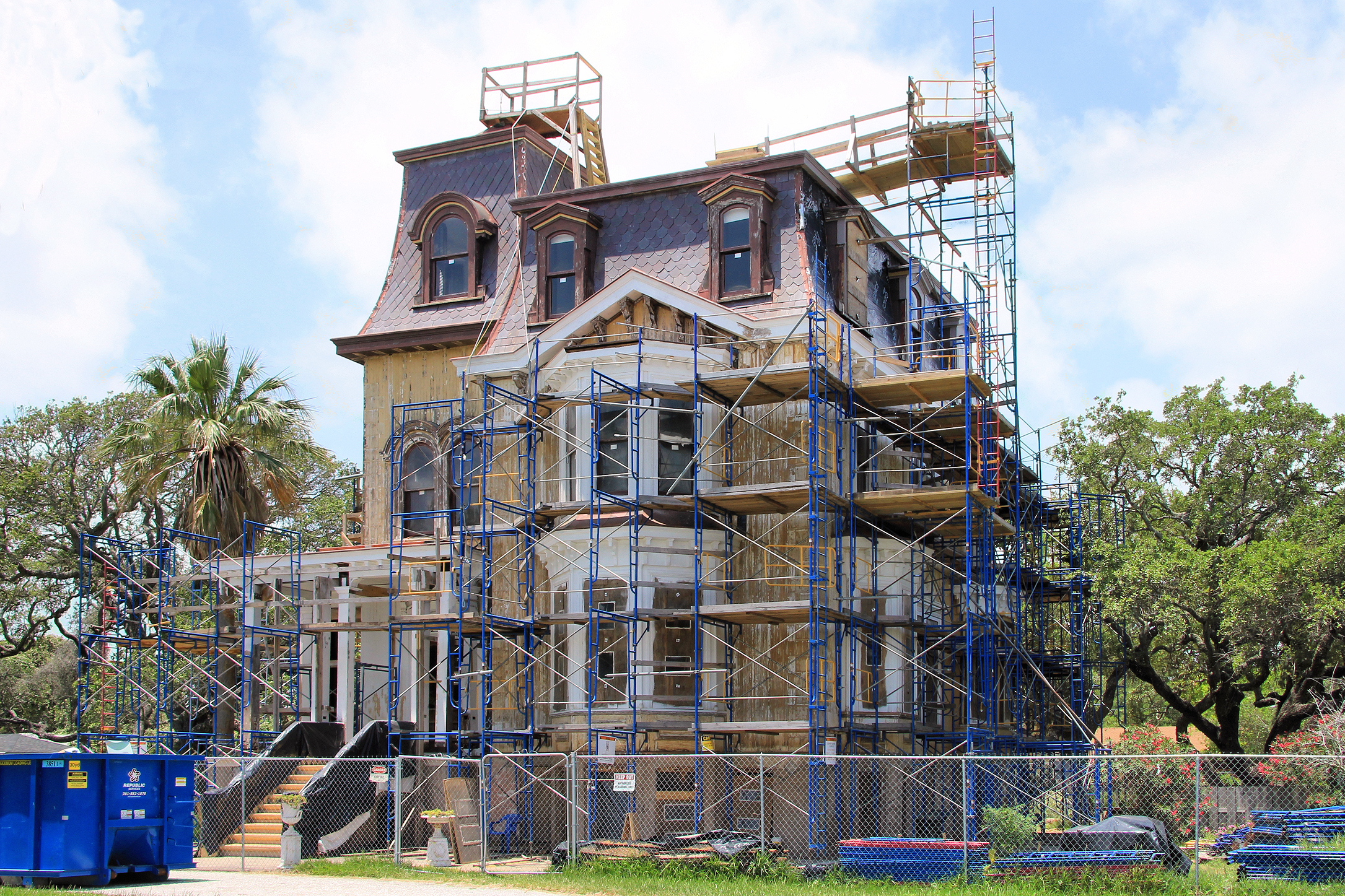 Fulton mansion renovations 2014.jpg English: The George W. Fulton Mansion Fulton, Texas, United States undergoing renovations. The Second Empire