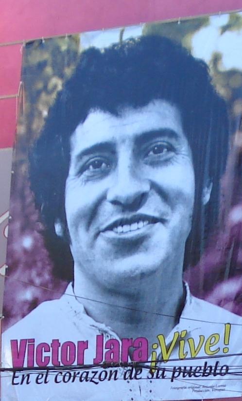 Póster de Víctor Jara en el Galpón homónimo
